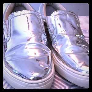 💿Soda Silver Pointed-Toe Slip-On Sneakers💿